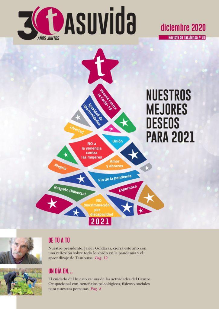 portada de la revista de diciembre, con un árbol de Navidad formado por los deseos de los centros de Tasubinsa para 2021